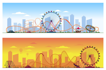Luna park concept. Amusing entertainment amusement  colored background vector illustration