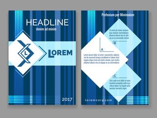 Wall Mural - Technology digital brochure template. Vector abstract blue stripes design modern frame for your logo