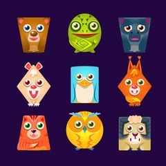 Geometric Shape Flat Cartoon Animals Set Of Colorful Cartoon Isolated Vector Stickers