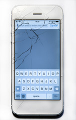 Broken phone screen isolated