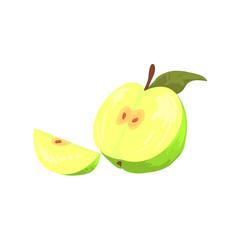Green Cut Apple Funky Hand Drawn Fresh Fruit Cartoon Illustration