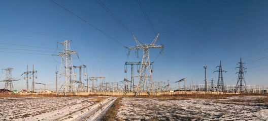 High voltage substation - winter landscape