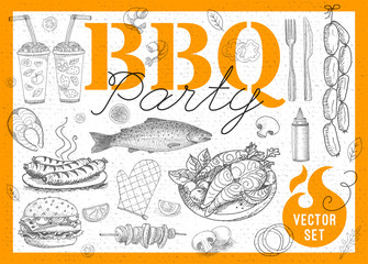 Set BBQ party. Barbecue elements, food, lemon, sausages, fish, seafood, drinks, knife, onion, wings, tomatoes, vegetables, fire. Hand drawn vector illustration.