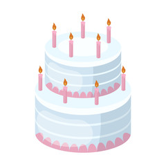 Birthday cake icon in cartoon style isolated on white background. Cakes symbol stock vector illustration.