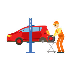 Smiling Mechanic Changing A Tire In The Garage, Car Repair Workshop Service Illustration