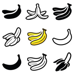 Banana icon collection - outline and silhouette illustration