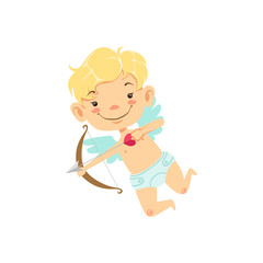 Blond Boy Baby Cupid Winged Toddler In Diaper Adorable Love Symbol Cartoon Character