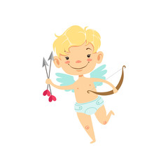 Boy Baby Cupid With Arrows And Bow, Winged Toddler In Diaper Adorable Love Symbol Cartoon Character