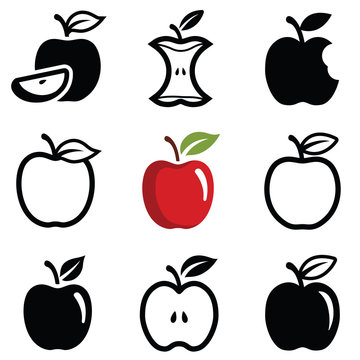 Apple icon collection - outline and silhouette illustration