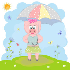 Cute pig walking with an umbrella.
