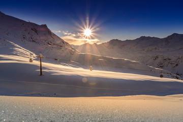 Skigebiet Obergurgl Hochgurgl, Winterlandschaft bei Sonnenuntergang