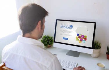 man using cloud storage online platform
