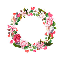 Floral wreath - roses flowers, feathers, hearts. Watercolor round border for Valentine day, wedding