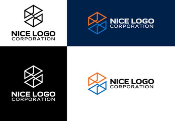 logo engineering and construction, box and cube logotype