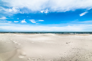 Blue sky, beach and sea, landscape, in the summer vacation, Poland