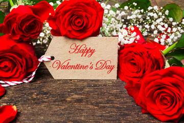 Grußkarte Valentinstag mit roten Rosen