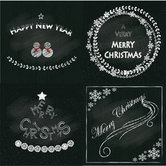 Christmas and New Year Typographical on chackboard background, vector illustration