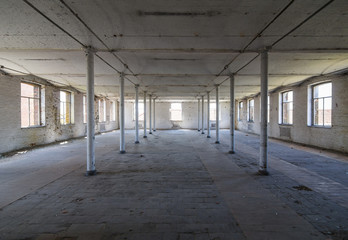 Closed and abandoned factory interior in Belgium, Europe