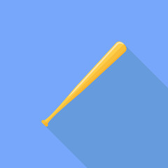 Baseball bat flat icon with long shadow on blue background. Vector illustration.
