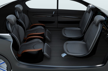 Business meeting seats' layout in autonomous car. Front seats turn to backward, and the rear seats have gorgeous reclining massage function. 3D rendering image.