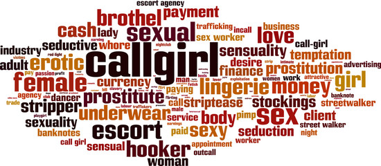 Callgirl word cloud concept. Vector illustration