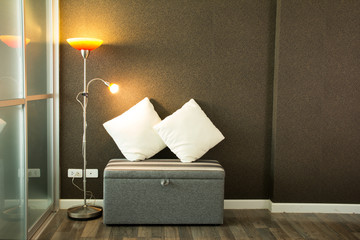 Living room with lamp and wall background vintage style