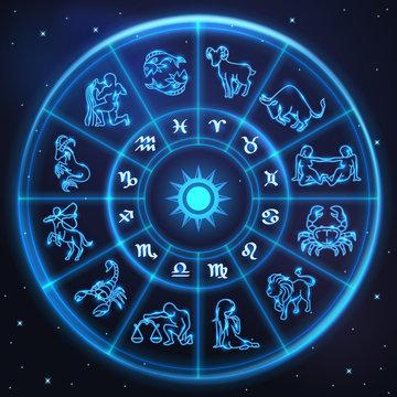 Light symbols of zodiac and horoscope circle, astrology