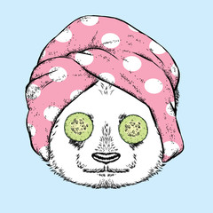 Cute panda in a towel with cucumbers on her eyes. Spa treatment. Vector illustration.