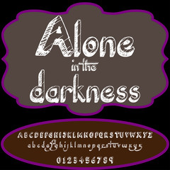 Script Font Typeface Alone in the darkness vintage script font Vector typeface for-labels and any type designs