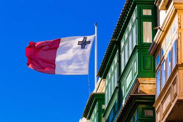 Malta Valletta Nation Flag Erker / Oriel / bendiera / Fahne / Flagge / Hoheitszeichen