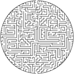 Complex maze puzzle game (high level of difficulty). Black and white labyrinth business concept. Circle as labyruinth