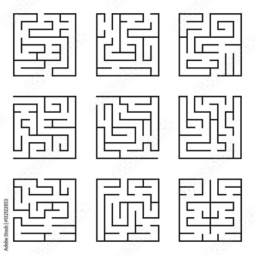 Collection Of Easy Maze Puzzle Game Black And White Labyrinth