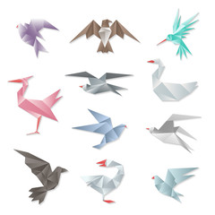 Wall Mural - Origami bird set. Vector 3d abstract paper flying birds with wings isolated on white background