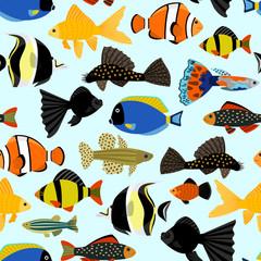 Wall Mural - Fishes seamless pattern. Cute cartoon aquarium fish animals background for kids vector illustration print