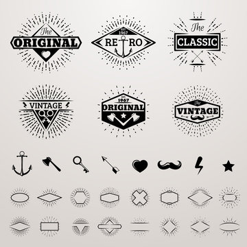 Vintage lines insignia set with star burst. Vector hipster printing bursting retro logo collection