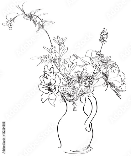 Pen And Ink Sketch Of Spring Flowers In A Vase Stock Photo And