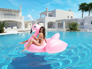 beautiful girl having fun with pink flamingo float. 3d rendering