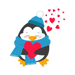Cute and happy penguin with heart.Vector illustration for happy valentines day card. Isolated on white background
