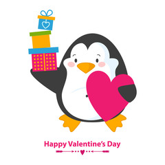 Cute and happy penguin with heart and boxes with gifts.Vector illustration for happy valentines day card. Isolated on white background