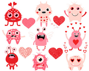 Vector love set of cute Valentines Day monsters and hearts