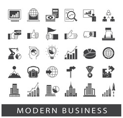 Collection of modern business icons. Premium quality icons for business and finances. Set of business icons. Vector illustration.