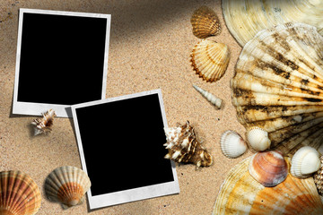 Beach Vacation - Seashells and Instant Photos