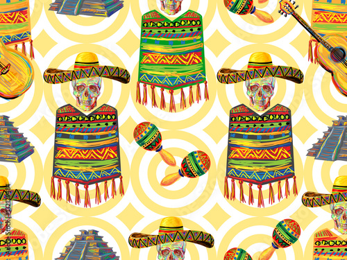 Mexican seamless music pattern with skull, sombrero hat
