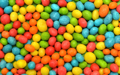 Close-up of multicolor candies texture background.