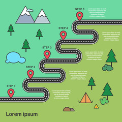 Five steps Zig-zag asphalt road journey and hiking trip with camping place, lake, mountain and pin-pointers in a flat design style. Vector EPS 10