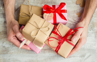 Gifts for the holiday in a beautiful package. Selective focus.