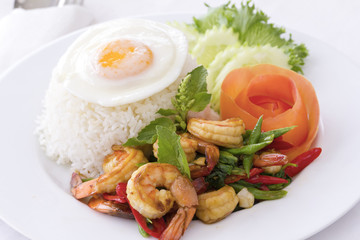 Thai Food: Prawn Stir-fried with hot basil, Pad Krapao Goong