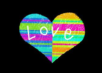 Abstract multicolor striped love symbol