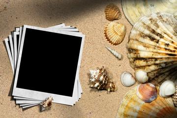 Beach Vacation - Seashells and Instant Photos