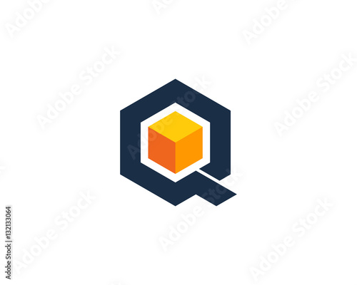 Letter Q Box Cube Logo Design Element